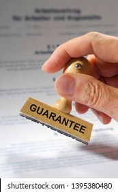 Guarantee printed on rubber stamp