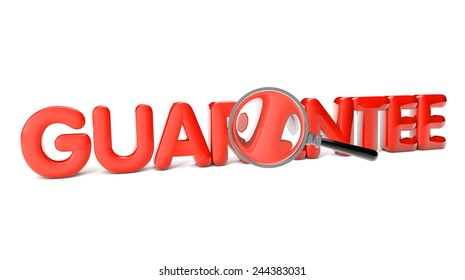 guarantee text with magnifying glass isolated on white background