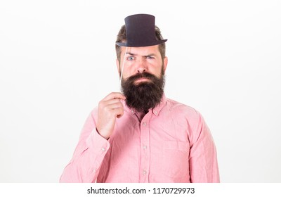 Guaranteed ways appear smarter than you are. Man bearded hipster hold cardboard top hat to look smarter and serious on white background. Great to be smart but intelligence is hard thing to pin down.