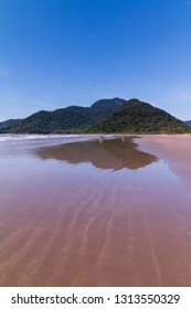 Guarau, Peruibe, SP / Brazil - 02/10/2019: Guarau beach in Peruibe with the background of Jureia Ecological Station