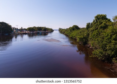 Guarau, Peruibe, SP / Brazil - The Peruibe river and Atlantic forest in  Jureia Ecological Station