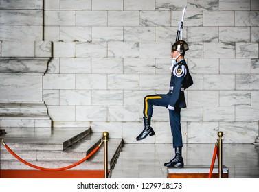 Guard Changing ceremony at Chiang Kai-Shek Memorial Hall, Taipei, Taiwan, January 2019