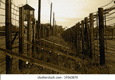 Guard fence in concentration camp