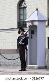 Guard outside the royal norwegian castle