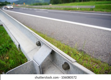 Guard Rail Close Up by the road