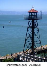 Guard tower at Alcatraz prison, San Francisco, California, America, USA