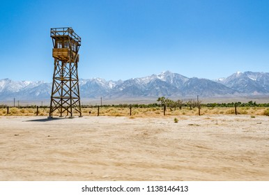 Guard tower at detention camp, Eastern Sierra mountains in the distance, Manzanar National Historic Site, Inyo County, California, United States