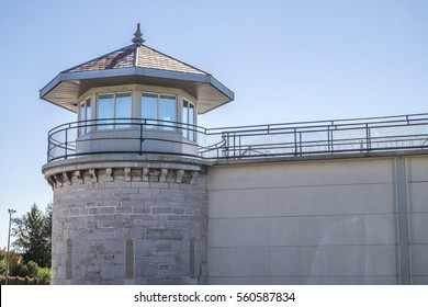 A guard tower on the corner of a prison wall in Kingston Ontario Canada.