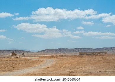 Guard tower and practice building in the Negev Desert in southern Israel