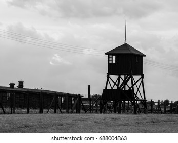 Guard towers in Majdanek german nazi concentration camp, Lublin, Poland.