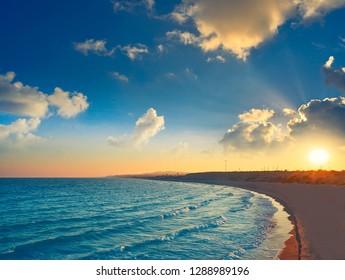 Guardamar del Segura Dunas beach at sunset in alicante of Spain