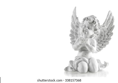 Guardian angel over white background. Christmas decoration
