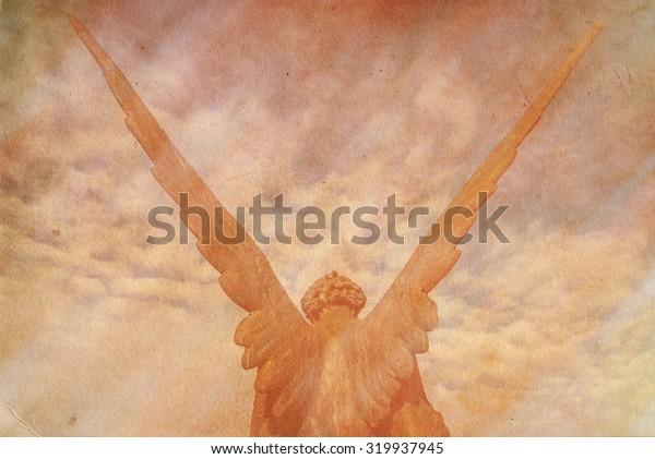 guardian angel retro grunge background