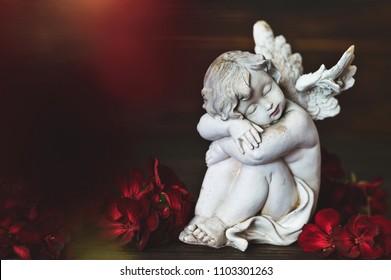 Guardian angel sleeping. Guardian angel and red flowers
