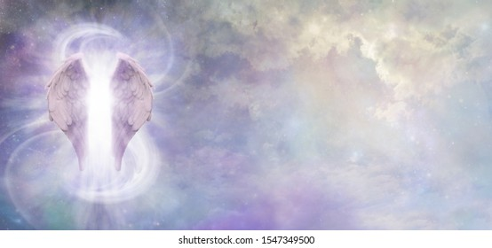 Guardian Angel Spirit Banner - a pair of Angel Wings with a swish of white energy behind set against a wide cosmic Universe background with copy space