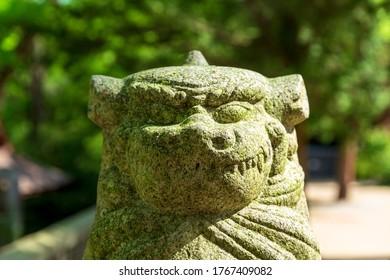 Guardian dog of Ōyamazumi Shrine.