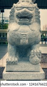Guardian Lion Foo Fu guard stone statue (cross process)