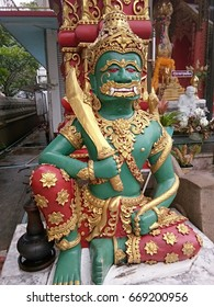 Guardian of the public Buddhist temple in Chiangrai, Thailand