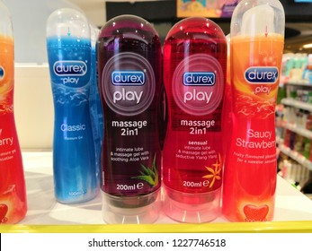 Guardian Store,Selangor, Malaysia- November, 2018 : Durex range of condoms and lubricant. Durex is the trademarked name for a range of condoms that were made by SSL international