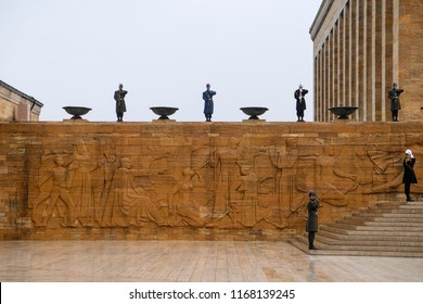 Guards stands by at the entrance to Mustafa Kemal Ataturk's Mausoleum which name is Anitkabir.  Ankara, Turkey. 14-03-2017