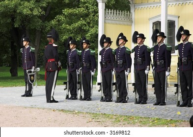 Guards watching the royal norwegian castle oslo norway