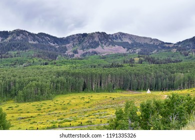 Guardsman Pass views of Panoramic Landscape of the Pass, Midway and Heber Valley along the Wasatch Front Rocky Mountains, Summer Forests, Clouds and Rainstorm. Utah, United States.
