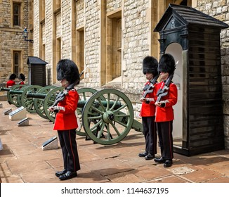 Guardsmen in  Bearskin hats taken at the Tower of London, London, UK on 8 July 2017