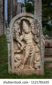 Guardstone Decorative stone placed in front of ancient buddhist buildings. Located in Anuradhapura, Sri Lanka
