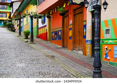 GUATAPE, ANTIOQUIA, COLOMBIA, JUNE 08, 2019: Colorful streets of Guatape village in Colombia, South America