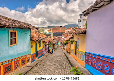 Guatape, Colombia - April 2019 : Historical center in cloudy weather, HDR image