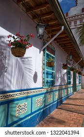 Guatape, Colombia - August 29, 2018: typical colourful architecture of the popular tourist destination town