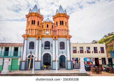 GUATAPE, COLOMBIA - FEBRUARY 7, 2015: Beautiful Penol old town replica of the main street in old Guatape before it was inundated