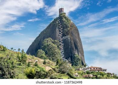 Guatape, Colombia- March 6, 2017:Rock of Guatape, Piedra de Penol, Colombia