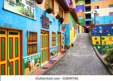 GUATAPE, COLOMBIA - OCTOBER 11, 2016: Colorful streets and decorated houses of Guatape city near Medellin, Antioquia, Colombia