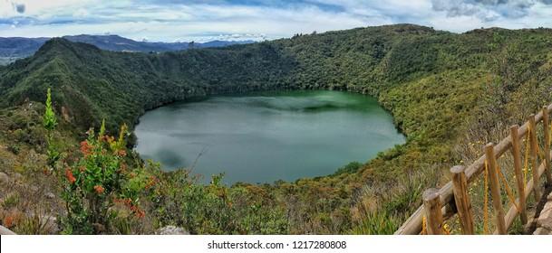 Guatavita Lake in Bogota Colombia on a sunny day.