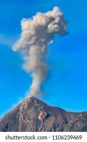 Guatemala. Antigua. Smoky, active Fuego volcano (Volcan Fuego)