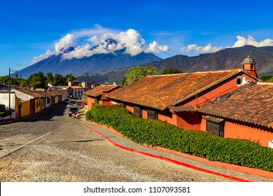 Guatemala. Antigua. There are active Fuego volcano and dormant Acatenango in the background