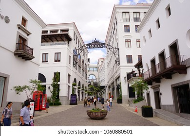 GUATEMALA, GUATEMALA, CENTRO AMERICA - MARCH 13, 2018 Buildings and commercial premises of the Cayalá City in Guatemala capital in summer with enough vacation tourism.