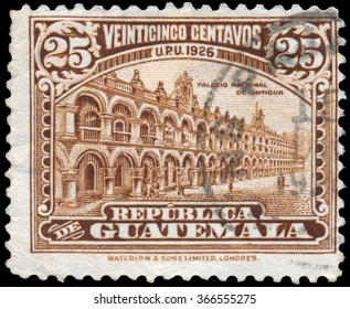 GUATEMALA - CIRCA 1929: a stamp printed in Guatemala shows a National Palace