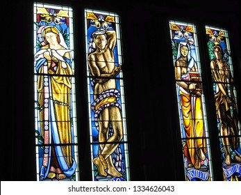 GUATEMALA CITY, GUATEMALA-MAY 11, 2007:  Beautiful stained glass windows adorn the interior of the National Palace.