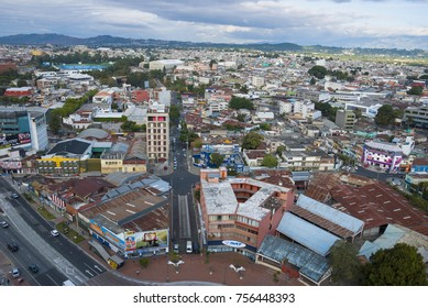 GUATEMALA CITY - January 04, 2017. Panoramic view of Guatemala City, modern and conservative architectural contrast, Central America, Latin American city in development, seismic city, mountainous land