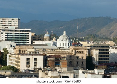 GUATEMALA CITY - January 30, 2012. Panoramic view of Guatemala City, modern and conservative architectural contrast, Central America, Latin American city in development, seismic city, mountainous land