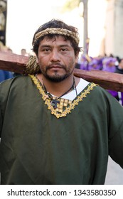 Guatemala City, Guatemala - March 17, 2019: Man disguised as a thief for the personification of the crucifixion, as part of the catholic representation of the lent in a street procession