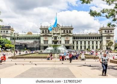 Guatemala City, Guatemala -  September 5, 2018: Presidential palace National Palace of Culture (Palacio Nacional de la Cultura) on Plaza de la Constitucion in capital city.
