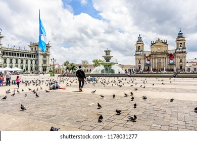 Guatemala City, Guatemala -  September 5, 2018: Presidential palace National Palace of Culture & Cathedral of Guatemala City on Plaza de la Constitucion in capital city.