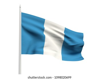 Guatemala flag floating in the wind with a White sky background. 3D illustration.