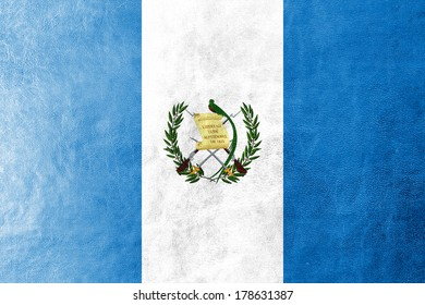 Guatemala Flag painted on leather texture
