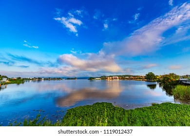 Guatemala. Flores, El Peten. Panoramic view of Peten Itza Lake and Flores Island, where is located the old part of the city