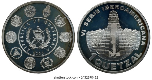 Guatemala Guatemalan commemorative silver coin 1 one quetzal 2005, Guatemalan arms surrounded by arms of Latin American countries, Indian pyramid in jungle,