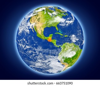 Guatemala highlighted in red on planet Earth. 3D illustration with detailed planet surface. Elements of this image furnished by NASA.